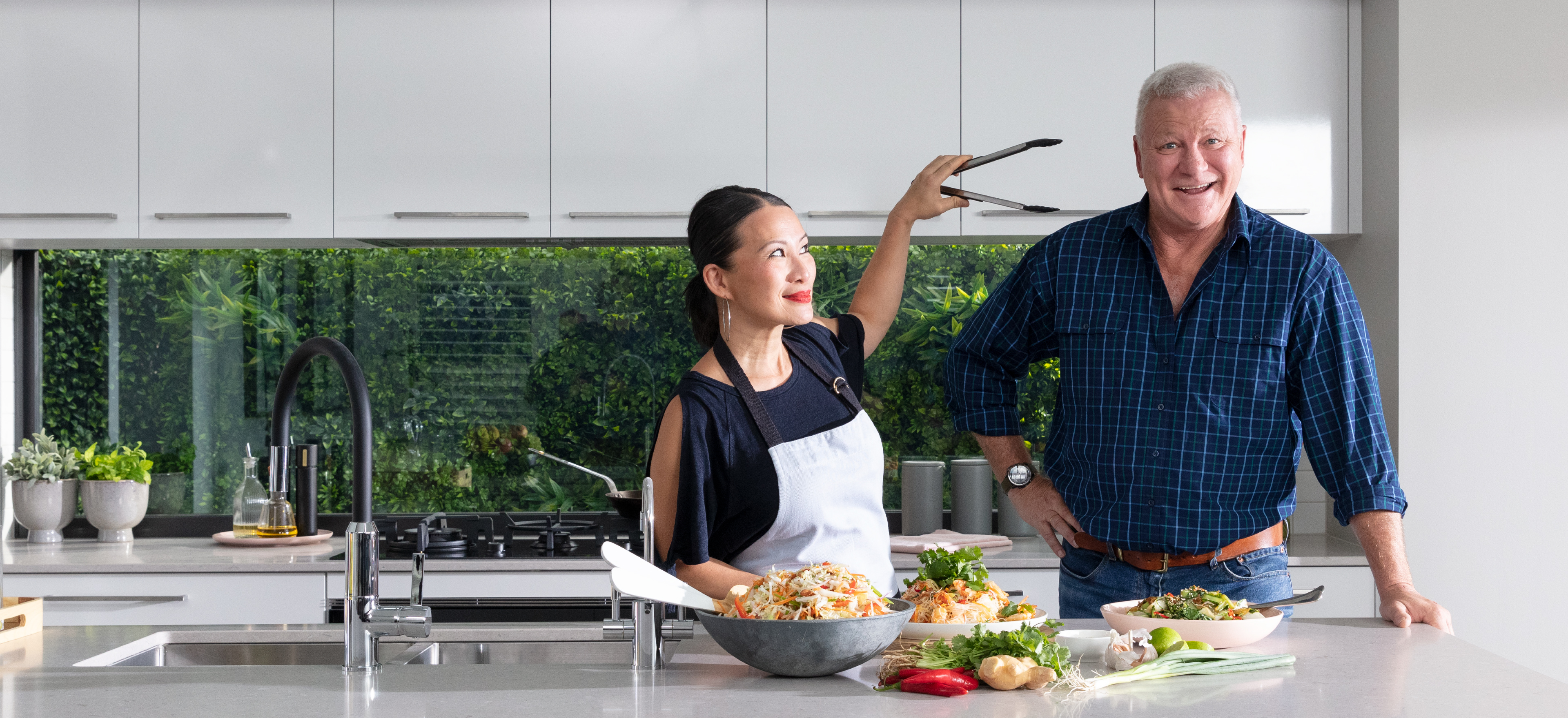Scott and Poh with Tongs